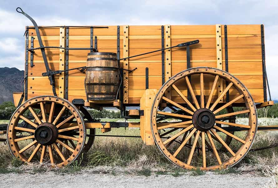 Twenty mule team replica borax wagon side view