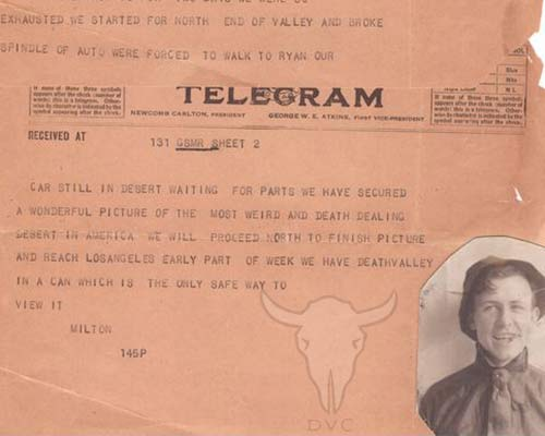 Throwback Thursday Historic Telegram from Ryan, CA Always Be Prepared In Death Valley National Park