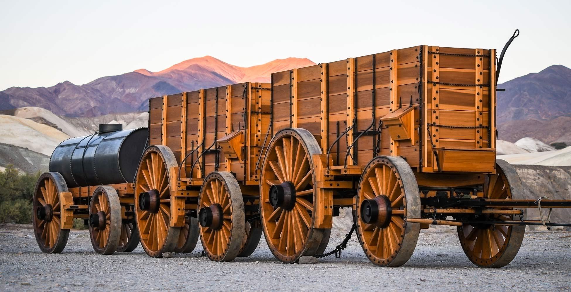 Borax wagon reproduction pano at sunset DVC